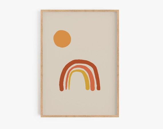 Rainbow Sun Print Mid Century Modern Rainbow Print Downloadable Art Boho Decor Nursery Print Terracotta Printable Poster Abstract Wall Art