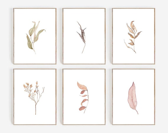 Set of 6 Prints, Botanical Prints, Set of 6 Wall art, Watercolor, Farmhouse, Minimalist Print, Minimalist Wall art, Leaves Print, Art Prints