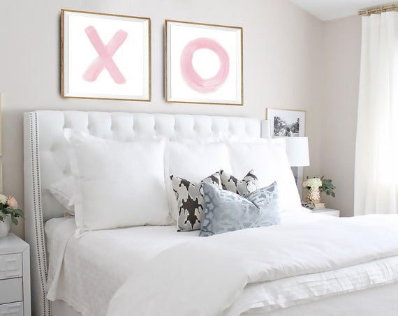 xo print, XO Wall Art, XO Wall Decal, XO Set of 2, Set of 2 wall art, Set of 2 pink prints, Fashion Print, Modern Print, Digital Download