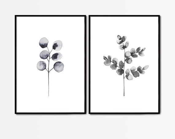 Set of 2 Black White Art, Set of 2 Wall Art, Set of 2 Black White Prints, Set of 2  Prints, Leaves Art, Wall Art, Minimalist Art, Prints