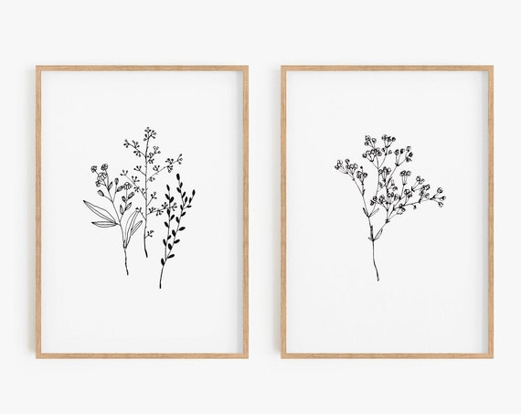Set of 2 Black White prints,Set of 2 minimalist prints,Minimalist prints,Set of 3 prints,Minimalist botanical,Minimalist wall art,Wall art