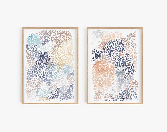 Set of 2 watercolour prints Abstract Wall art Natural Colour Boho Decor Bohemian Set of 2 wall art Modern artwork Printable Art Watercolour