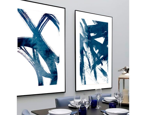 Set of 2 blue prints, Set of 2 prints, Set of 2 Wall Art, Set of 2 Abstract Art, Blue wall Art, Blue Abstract, Set of 2 Abstract Prints,