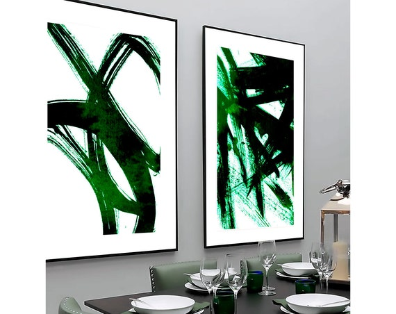 Set of 2 Green prints, Set of 2 prints, Set of 2 Wall Art, Set of 2 Abstract Art, Green wall Art, Green Abstract, Set of 2 Abstract Prints