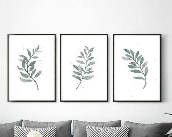 Set of 3 botanical prints, Botanical Wall Art, Greenery, Leaves Print, Watercolor Art, Set of 3 Prints, Set of 3 Wall Art, Digital Download