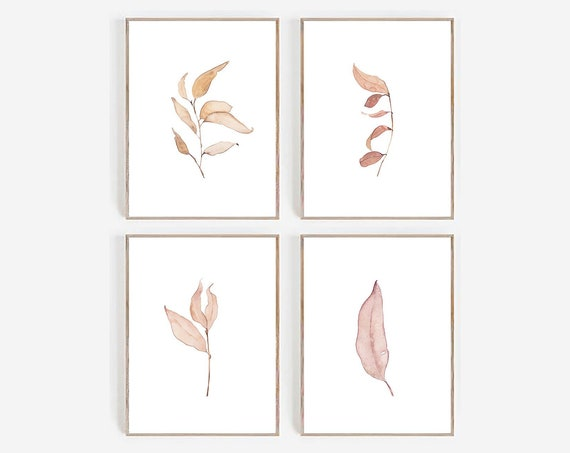 Set of 4 Botanical Prints, Art Prints, set of 4 Prints, Set of 4 Wall Art , Watercolor Prints, Leaves Print, Minimalist Wall art, Printable