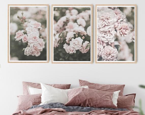 Bedroom Wall Decor, Roses Art Print, Pink Floral Digital Download, Printable Roses Poster, Flower Photography, Blush Prints,Set of 3 Prints
