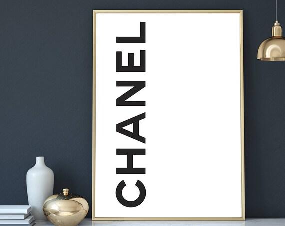 Chanel Poster, Fashion Print, Fashion Poster, Black White Fashion Poster, Chanel Logo, Digital Download, Fashion Art, Modern Minimalist Art