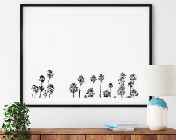 Palm Tree Print Minimalist print Black and White palm tree photo Black and White Wall Art Home Gallery Beach Decor Beach Print Art Printable