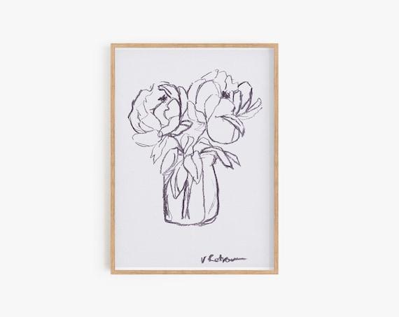 Minimalist Wall art,Peony Print,Black and white prints,Large Poster,MinimalistPrint,Black and white home decor,Botanical,Black and white art