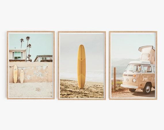 Set of 3 Prints Set Art Beach Set of Boho Print Set of 3 Surfing Print California Print Set Digital Summer Palm Art Set of 3 Print Van Decor