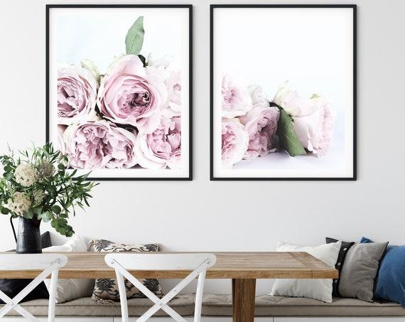 Floral Print Set  Pink Wall Art Roses Prints Pink Wall Art  Pink Flowers Home Decor Bedroom Decor Wall Gallery Set of 2 Prints Pink Wall Art
