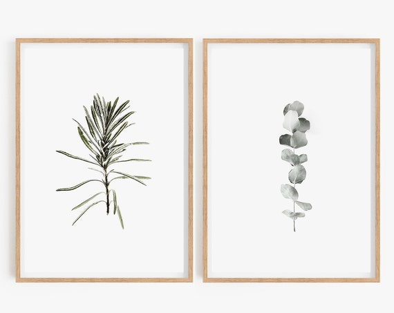 Set of 2 Prints Wall Art Prints Set of 2 Art Prints Printable Wall Art Eucalyptus Print Rosemary Print, Instant Download, Large Wall Art