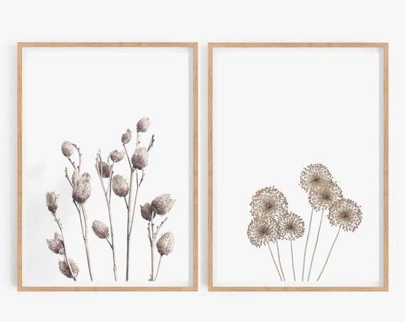 DIY Wall Gallery Wall Art Set,Plants Print, Bedroom Print, Set of 2 Prints, Farmhouse Prints, Art Print, Wall Decor, Farmhouse Decor, Prints