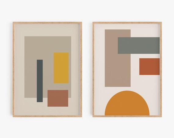 Set of 2 Wall Art,Geometric Prints,Vintage Wall Art,Boho Decor,Bohemian,Set of 2 prints,Colourful,Natural Tones,Geometric posters,Prints