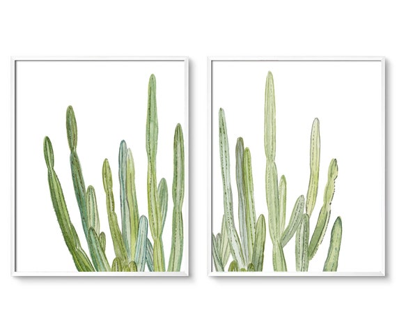 Set of 2  Cactus Prints, Set of 2, Cactus, Set of 2 Wall Art, Cacti Wall art, Modern Art, Watercolor Cactus Set, Wall Art, Digital Download