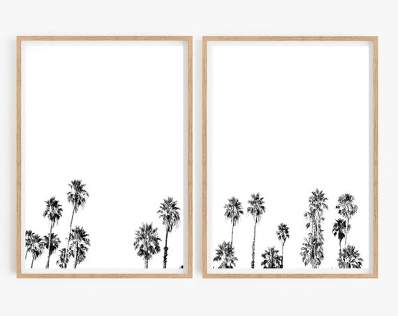 Set of 2 Palm Tree prints Palm tree Black and White photo Tropical Home Decor Living Room Set of 2 Prints Minimalist Beach 2 Posters Art