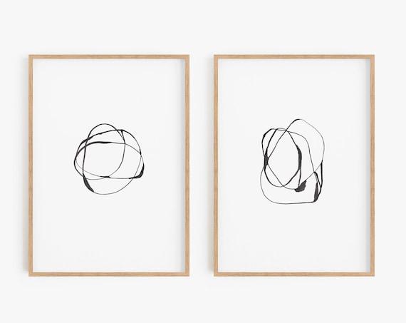 Set of 2 Abstract Prints, Set of 2 Abstract Wall Art, Contemporary Art, Minimalist Art, Set of 2 Prints, Black White Wall Art, Art Prints