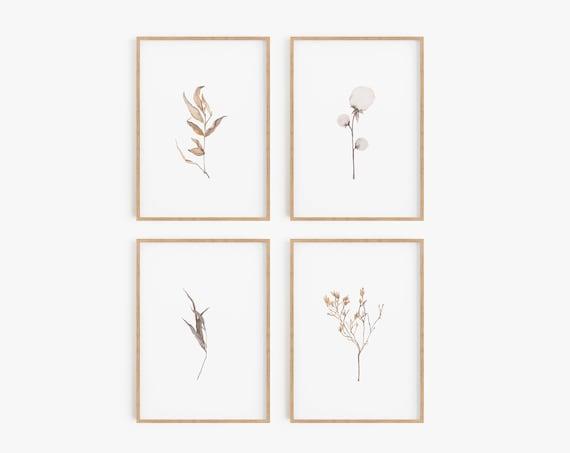Set of 4 Prints,Prints,Set of 4 wall art,Farmhouse decor, Cotton print,Farmhouse prints, Set of 4 minimalist prints,Wall art,Botanical print