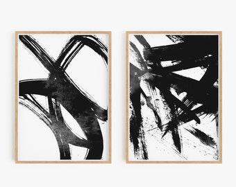 Set of 2 black prints, Set of 2 prints, Set of 2 Wall Art, Set of 2 Abstract Art, Black wall Art, Black Abstract, Set of 2 Abstract