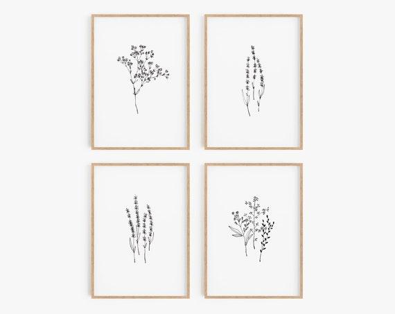 Set of 4 Prints,Prints,Set of 4 wall art,Set of 4 minimalist prints,Lavender print,Black  white prints,Minimalist wall Art,Botanical print
