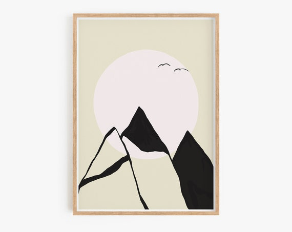 Mountains Wall Art, Landscape  Art, Minimalist Print, Printable Wall Art Nature Downloadable Art Mountain Poster Modern Print Scandinavian