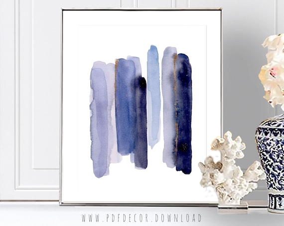Blue Art Print, Blue Printable Art, Navy Blue Art, Blue Wall art, Blue Decor, Blue Brush strokes, Modern Art, Digital Download, Blue Art