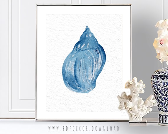 Coastal Art, Coastal Decor, Blue Shell, Blue Watercolor Print, Coral Prints, Watercolor Coral, Beach Home Decor, Indigo Print, Blue Art, Art