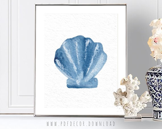 Seashell Art, Seashell Decor, Watercolor Sealife, Watercolor Seashell, Coastal Print, Coastal Decor, Watercolor Art, Coastal Wall Art, Art