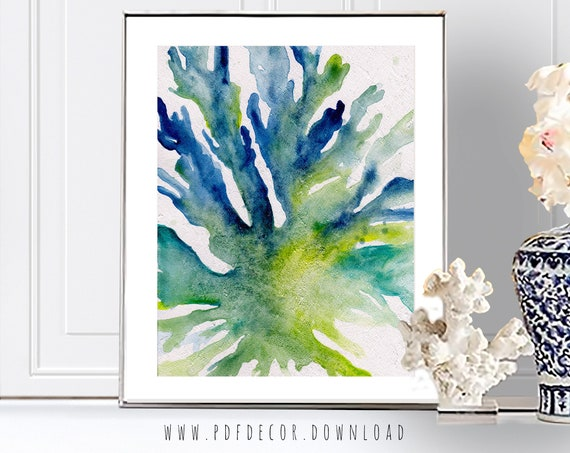 Seaweed Prints, Watercolor Seaweed, Coastal Wall Art, Beach Decor, Coastal Print, Watercolor Art, Watercolor Print, Cottage Wall Decal, Art