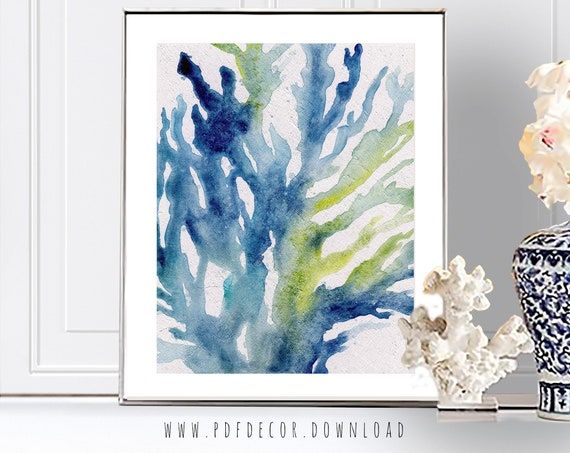 Sealife Watercolor Print, Seaweed Print, Sealife Wall Art, Nautical Print, Coastal Wall Art, Watercolor Print, Digital Download, Wall Art