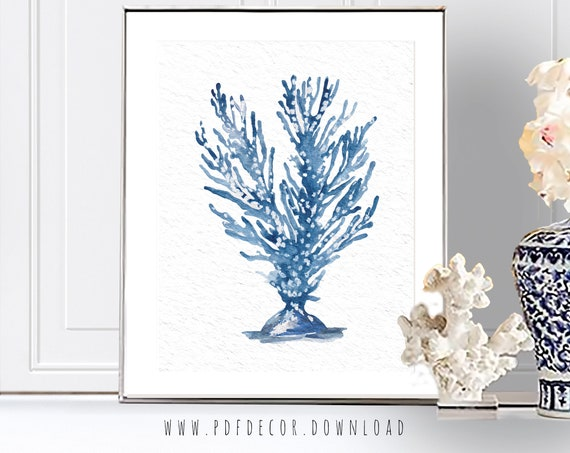 Coastal print, Costal Wall Art, Blue Shells, Coastal Decor, Coral Prints, Watercolor Sealife, Beach Home Decor, Seaweed Prints, Blue Art
