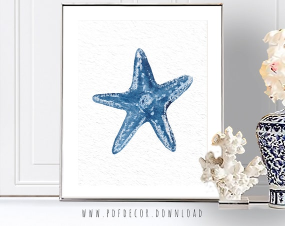 Starfish Print, Costal Wall Art, Blue Shells, Coastal Decor, Starfish Watercolor, Watercolor Sealife, Blue wall Art, Blue Prints, Wall Art