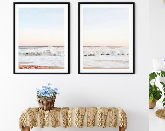 Beach Photography, Ocean Print, Printable Wall Art, Coastal Decor, Set of 2 prints, Water and Clouds, Pastel Pink and Blue, Beach Coastal