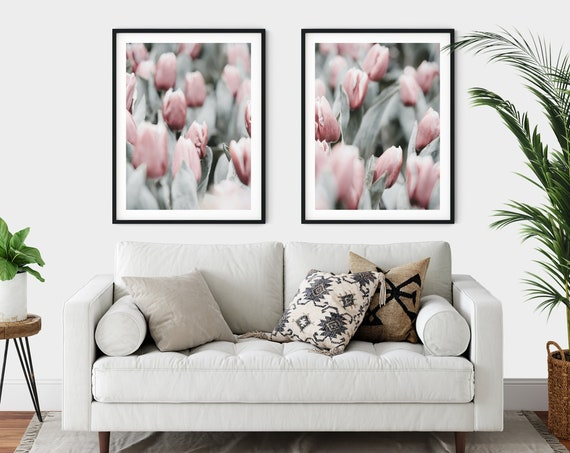 Floral Prints Pink Wall Art Tulip Prints Pink Wall Art  Pink Flowers Home Decor Bedroom Decor Wall Gallery Set of 2 Prints Art Set of 2 Art