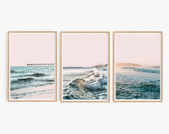 Set of 3 Ocean Print Prints Gallery Wall Set Beach Print Ocean Art Large Wall Art Set Pink Wall Art Sunset Waves Print Beach Surf Prints Art