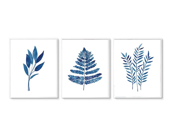 Set of 3 Blue Leaf Prints, Set of 3 Printable, Set of 3 Leaves Print, Modern Art, Blue Prints, Blue Art, Minimalist Print, Watercolor Print