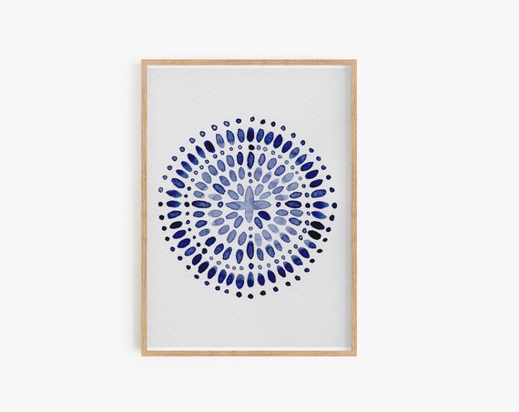 Boho Decor,  Blue Wall Art, Watercolor, Moroccan Blue, Abstract Art, Navy Blue, Art, Blue Print, Moroccan Art, Prints, Digital Print, Poster