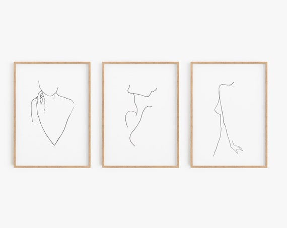 Set of 3 Silhouette Prints, Set of 3 Prints, Silhouette Wall Art, Minimalist Print, Line Art, Contemporary Art, Art Prints, Black White Art