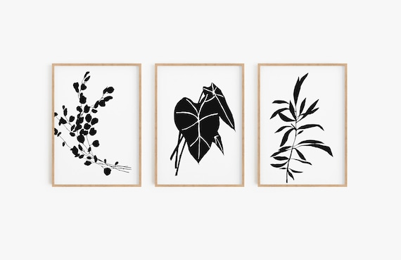 Set of 3 wall art,Leaves prints,Black and white leaves art,Black and white prints,Set of 3 ,Black and white,Tropical prints, Tropical art