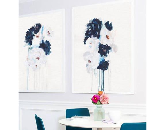 Set of 2 Wall Art, Set of 2 Prints, Blue Wall art ,Flowers, Art Prints, Set of 2, Wall Art, Modern Art, Abstract Art , White Blue Art ,Art