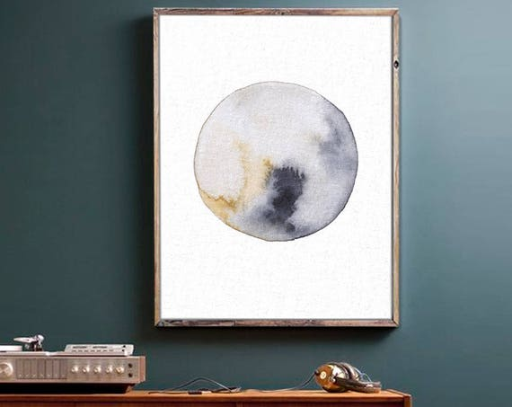 Abstract Wall Art, Art Prints, Watercolor Painting, Wall Art, Print, Moon, Abstract Print, Minimal Art, Art Prints, Art, Rustic, Modern Art