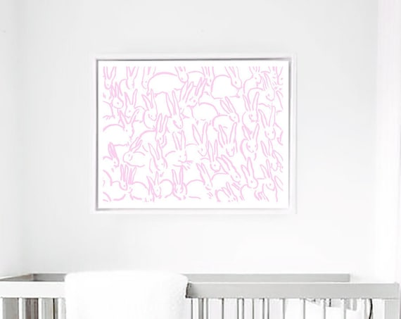 Pink Bunny, Bunny Print, Nursery Decor, Nursery Wall Art, Rabbit Print, Bunny Wall art, Nursery Print, Abstract wall Art, Abstract Print