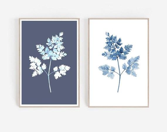 Navy Blue Wall Art, Set of 2 Navy Art, Blue Printable, Blue Watercolor, Set of 2 Printable, Blue Leaf Art, Navy Blue Decor, Set of 2 Prints