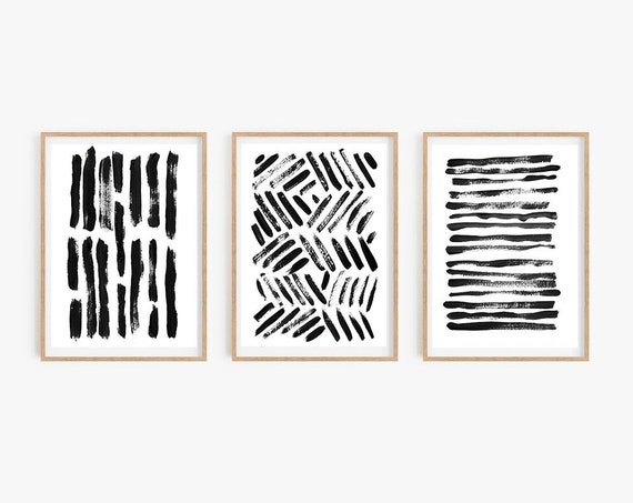 Set of 3 black prints,Set of 3 wall art, Black Abstract, Black Decor, Minimalist Wall Art,Set of 3 prints,Digital Download,Printable art,Art