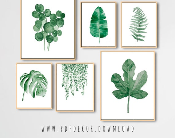 Watercolor Leaves Prints, Set of 6 leaf prints, Set of 6 Prints, Tropical Print, Set of 6 Wall Art, Watercolor Leaves, Leaf Print, Wall Art