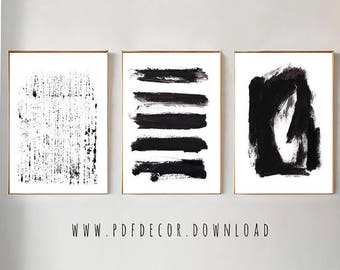 Set Of 3 Black Abstract Prints Set Of 3 Wall Art Abstract Wall Art Black White Art Minimalist Art Set Of 3 Abstract Print Prints Art
