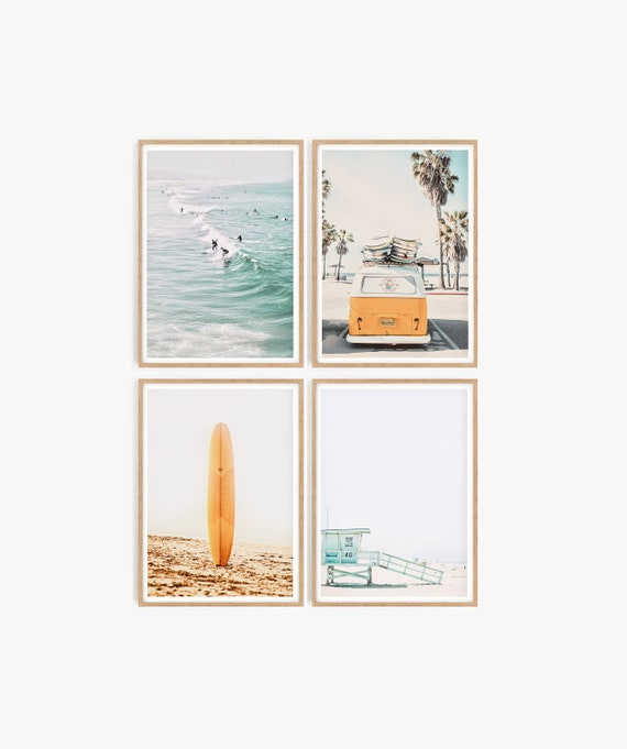 Set of 4 Beach Prints Coastal Decor Summer Prints California Palm Tree Ocean wall Art Boho Decor Set of 4 Wall Art Surfboard Surfing People