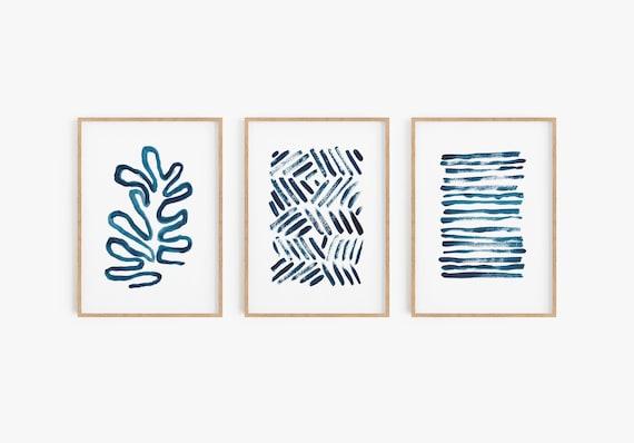 Set of 3 Blue minimalist Prints Navy Blue Set Prints Abstract Wall Art Set of 3 Abstract Art Set of 3 Prints Navy blue printable Blue Decor