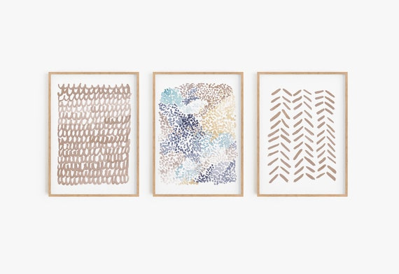 Set of 3 Prints Set of 3 minimalist print Natural Tones Boho Decor Beige Prints Bohemian Decor Modern wall art Abstract prints Printable Art
